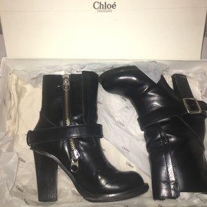 Chloe High heel moto boots size 38 US 8